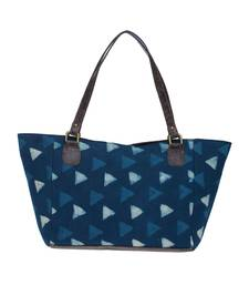 TARUSA Blue Cotton Geometric Print Tote Bag for women