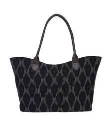 TARUSA Black Cotton Textrured Tote Bag for women