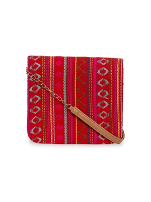 TARUSA Geometric Red color sling Bag