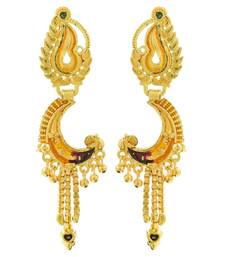 Saizen Traditional Ethnic half moon shape Collection Gold Plated Earrings