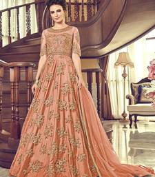 Orange embroidered pure net salwar