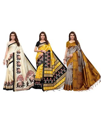 Multicolor printed silk blend saree with blouse (combo set)