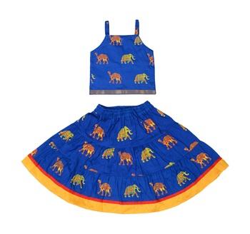 Blue Baby Girls Skirt and Top Self Design Hand Block Print