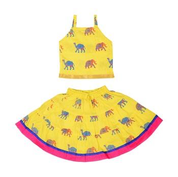 Yellow Baby Girls Skirt and Top Self Design Hand Block Print