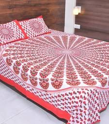 The Kanha 100% Cotton Rajasthani Print 200 TC Double Bedsheet with 2 Pillow Covers, King Size