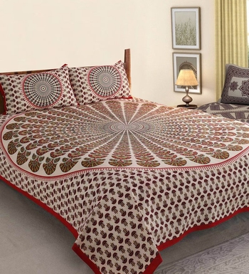 The Kanha 100% Cotton Rajasthani Print 200 TC Double Bedsheet with 2 Pillow Covers,King Size