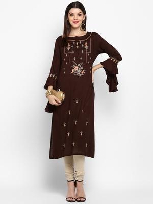 Brown embroidered rayon ethnic kurtis