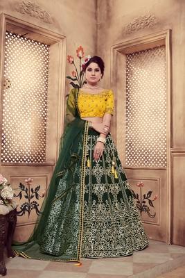 Dark Green Multi Rubber Foil Embroidered Silk Semi Stitched wedding lehenga