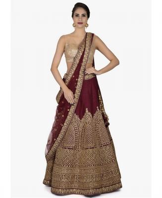 Maroon Embroidered Silk Unstitched Lehenga