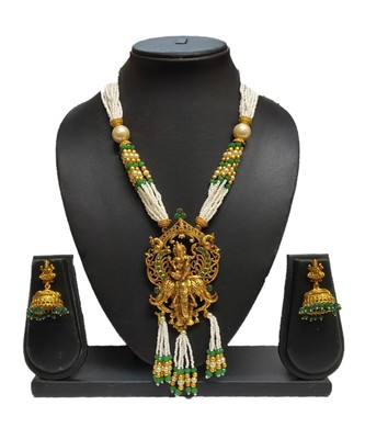 Green Matte Polish South Indian Temple Necklace Set For Women