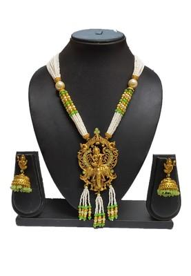 Mint Matte Polish South Indian Temple Necklace Set For Women