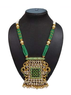 GREEN PEACOCK TRADITIOANL ETHNIC PEARL BEADED NECKLACE SET FOR WOMEN