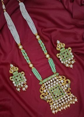 MINT PEACOCK TRADITIOANL ETHNIC PEARL BEADED NECKLACE SET FOR WOMEN