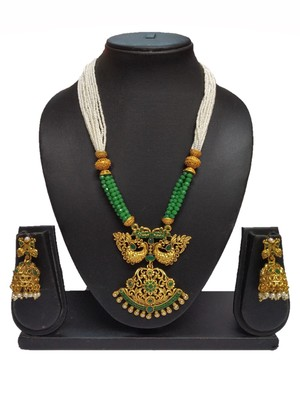 Green Matte Polish South Indian Peacock Designer Ethnic Fashion Traditonal Necklace Set For Women