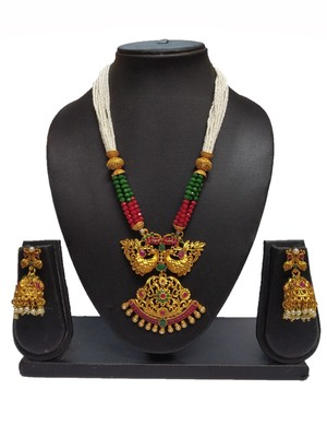 MAROON GREEN MATTE POLISH SOUTH INDIAN PEACOCK DESIGNER ETHNIC FASHION TRADITONAL NECKLACE SET FOR WOMEN
