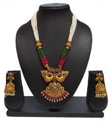 MAROON GREEN MATTE POLISH SOUTH INDIAN PEACOCK DESIGNER ETHNIC FASHION TRADITONAL NECKLACE SET FOR WOMEN