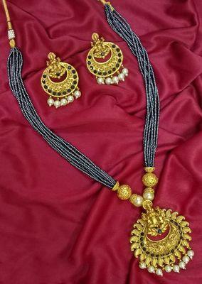 Black Matte Polish South Indian Maha Laxmi Pendent Designer Ethnic Fashion Traditonal Necklace Set For Women