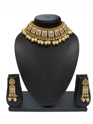 WHITE ENAMEL CONTEMPRORAY ETHNIC TRADITIONAL NECKLACE SET FOR WOMEN