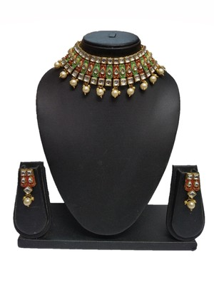 Fashion Maroon Green Enamel Contemproray Ethnic Traditional Necklace Set For Women