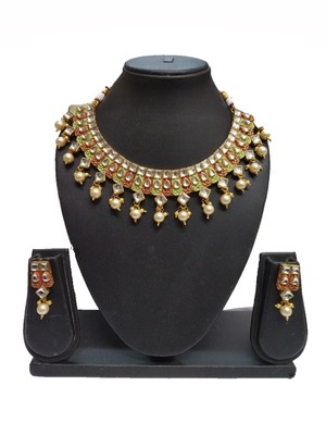 ETHNIC FASHION MAROON GREEN ENAMEL CONTEMPRORAY  TRADITIONAL NECKLACE SET FOR WOMEN