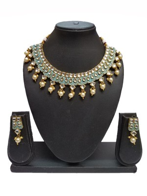 Ethnic Fashion Firozi Enamel Contemproray Traditional Necklace Set For Women