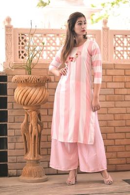 pink rayon kurti with plazo