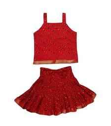 Red Baby Girls Skirt and Top Self Design Hand Block Print