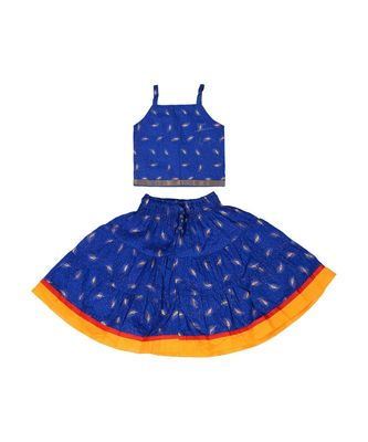 Blue Baby Girls Skirt and Top Self Design Hand Block Print