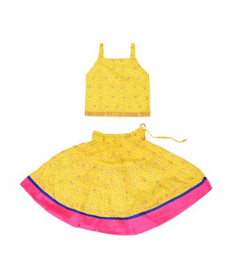 Yellow Baby Girls Skirt and Top Self Design Hand Block Print