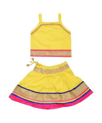 Baby Girls Skirt and Top Self Design Hand Block Print