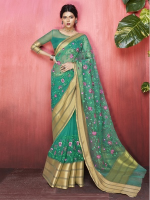 Green embroidered organza saree with blouse