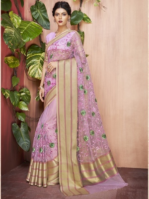 Purple embroidered organza saree with blouse