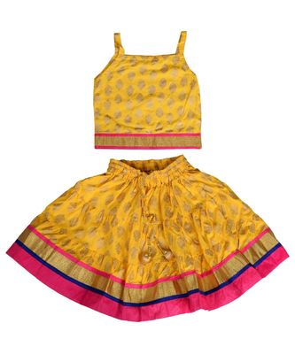 Yellow Baby Girls Skirt and Top Self Design Hand Block Gold Print