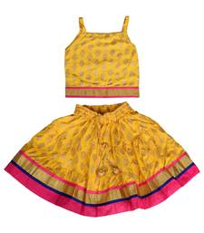 Yellow Baby Girls Skirt And Top Self Design Hand Block Gold Print