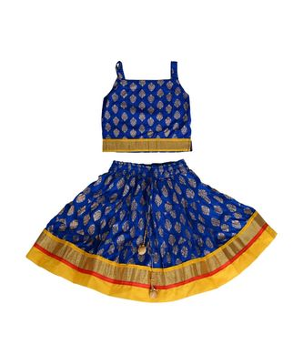 Blue Baby Girls Skirt and Top Self Design Hand Block Gold Print