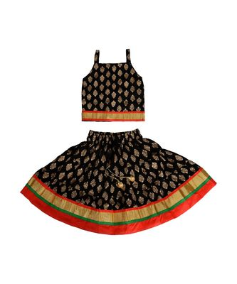 Black Baby Girls Skirt and Top Self Design Hand Block Gold Print