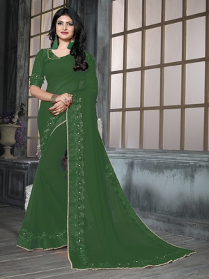 Green Ribbion Gotta Patti Embroidered Georgette Wedding Saree With Blouse