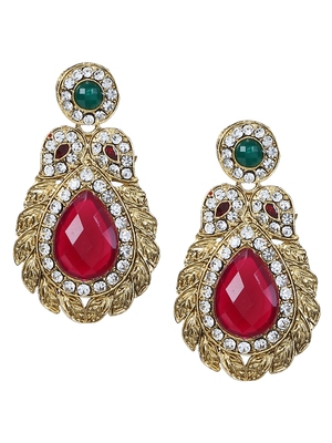 Drop Earring with Red Stone