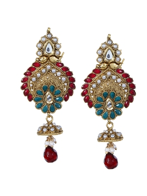 Drop Earring with Maroon Stone