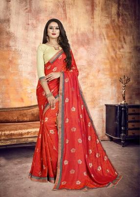 Red Embroidered Silk Designer Wedding Saree With Blouse Piece