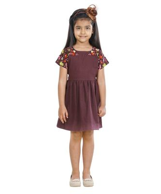 Mulberry Colour embroidery Dress