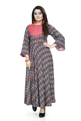 Multicolor printed rayon ethnic kurtis