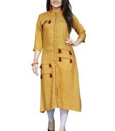 Mustard printed rayon ethnic kurtis