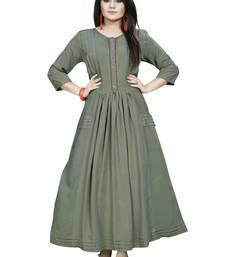 Green hand woven rayon ethnic kurtis