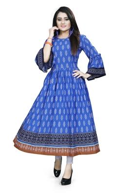 Blue printed rayon ethnic kurtis
