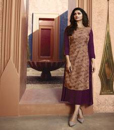Wine printed silk ethnic kurtis