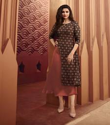 Brown printed silk ethnic kurtis