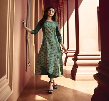 Light green printed silk ethnic kurtis