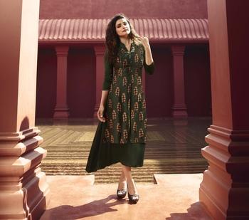 Green Printed Silk Ethnic Kurtis