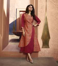 Pink printed silk ethnic kurtis